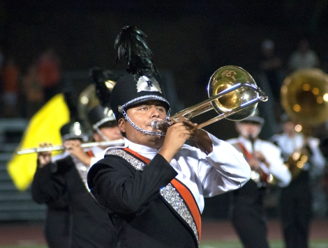 Big and Loud: The Marching Tigers display their fall production during halftime.