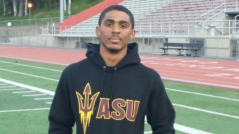 Courtesy of Jim McCarron Sun devil: Riverside City College athlete Sterling Winston commits to Arizona State University.