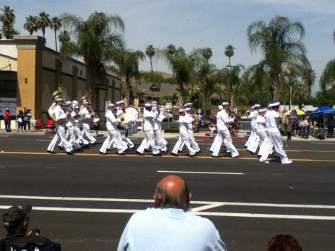 Soldiers march in downtown Riverside to honor veterans April 19.