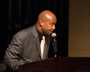 Riverside City College Athletic Director Derrick Johnson speaking at the 2014 Athletics Hall of Fame Ceremony on Oct. 16. (Michael Walter | Asst. Photo Editor)