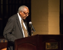 Riverside City College President Dr. Wolde-ab Isaac speaking at the 2014 Athletics Hall of Fame Ceremony on Oct. 16, 2014. (Michael Walter | Asst. Photo Editor)
