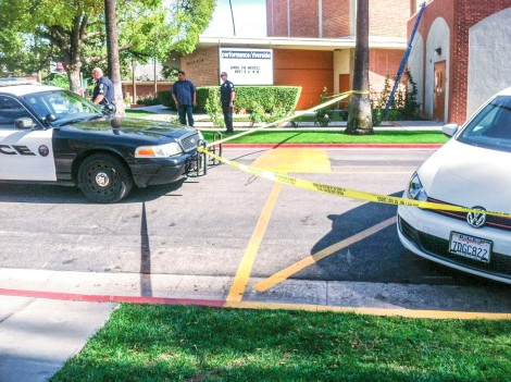 Police parked in front of the Riverside City College music building. (James H. Williams   Managing Editor)