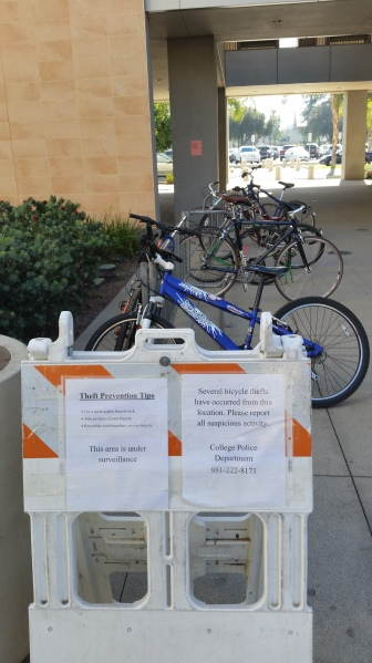 Valerie osier / staff Editor RCC Campus Police set signs near bike racks on campus to warn students about bike thefts.