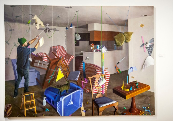 """Lost Art School Student in Apt."" by RCC alumnus Richard Corral is an expressive art piece that evokes images of ""throwing it to the wall to see what sticks,"" plays with identity and delves into string theory."