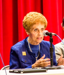 Luis Solis / Photo Editor Forum: Trustee Janet Green speaks at a candidate forum.