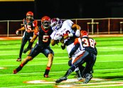 TACKLE: RCC's Cortland Fort tackles Mt. SAC ball carrier Branden Wilson in the SCFA Title Game on Nov. 29. (Luis Solis | Photo Editor)