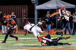 DOUBLE TROUBLE: Mt. SAC WR Derrick Macon scored two touchdowns against the Riverside City College defense. (Luis Solis | Photo Editor)