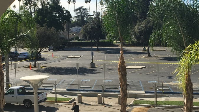 Riverside City College waited until the start of finals week to close Parking Lot B, due to the construction process on the students services building. (James H. Williams | Managing Editor)