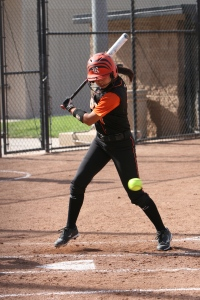 #7 Michelle Paul is at bat ready to swing in the Tigers' match against Cerritos College March 16