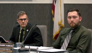 Temporary Student Trustee Benjamin Vargas sits in for the currently vacant position at the Board of Trustees meeting March 17.