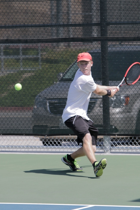 Riverside City College sophomore Conner Stephenson prepares to return the ball in his doubles match in the 2015 OEC Tournament on April 9