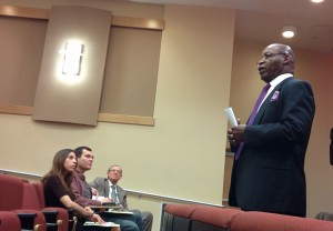 RCC presidential candidate Elmer A. Bugg speaks at a public forum held in the Digital Library Auditorium, April 2.