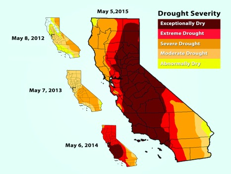 "Within a four year timespan, California's drought status has gone form being in a state of ""exceptional drought."" GRAPHICS COURTESY OF UNITED STATES DROUGHT MONITOR"