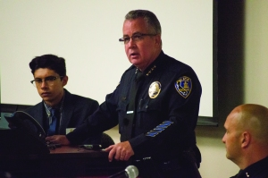 "Riverside Police Chief Sergio Diaz opens, ""Policing and Mental Health Forum"" held May 7 at California Baptist University."