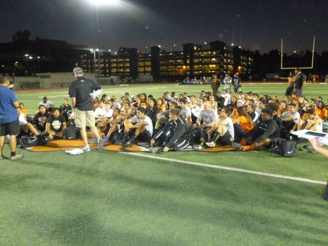 Riverside City College men's track and field coach Jim McCarron talks to his team after competing against UC Riverside, CSU Fullerton and CSU Long Beach on March 7. Photo taken by Alexis Naucler of Viewpoints.