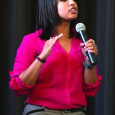 ASRCC Vice Presidential Candidate Rakhee Uma speaks at open forum April 30. Luis Solis | Viewpoints