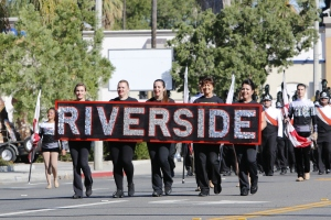 Riverside City College Marching Tigers make their way down Magnolia Avenue during the Nov. 7 Centennial Parade.
