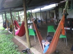 Students enjoying their downtime on hammocks at the Reserva Pajara Brujo in the highlands of Santa Cruz Island. Photo courtesy of Tonya Huff and Virginia White