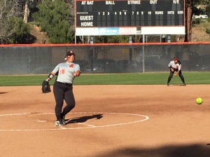 Riverside City College's Emily Wilcox pitched against Cypress in Orange Empire Conference play. (Alexis Naucler | Viewpoints)
