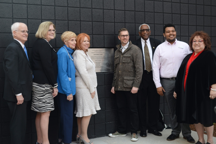 Riverside City College President Wolde-Ab Isaac, RCCD Chancellor Michael Burke and Board of Trustees commemorate  the opening of Centennial Plaza on March 13. Henry W. Coil, Jr. donated $5 million to fund programs at the Coil School for the Arts that were named after his parents.