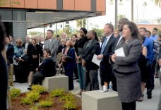 Attendees listen to Chancellor Michael Burke in the Centennial Plaza courtyard Marc 13, during the plaque unveil for Riverside City College.
