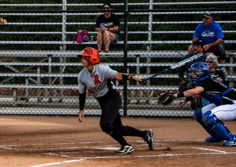Danielle Lopez hits one to deep right- center for an RBI double during the Tigers home game against Santiago Canyon on March 2nd