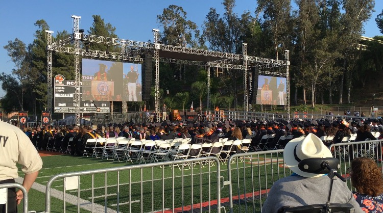 Riverside City College President Wolde-Ab Isaac welcomes the members of RCC's 99th graduating class to the graduation ceremony held in the Wheelock Stadium on June 9. Alexis Naucler | Viewpoints